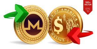 Monero to dollar currency exchange. Monero. Dollar coin. Cryptocurrency. Golden coins with Monero and Dollar symbol with green and. Red arrows. 3D isometric Stock Photo