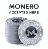 Monero Toegelaten tekenembleem Crypto munt Stapel zilveren die muntstukken met Monero-symbool op witte achtergrond wordt geïsolee stock illustratie