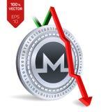 Monero upadek strzała puszka czerwień Monero wskaźnika ocena iść puszek na wekslowym rynku Crypto waluta 3D isometric Fizyczna Sr ilustracji