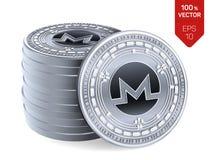 Monero Valuta cripto monete fisiche isometriche 3D Valuta di Digital Pila di monete d'argento con il simbolo di Monero isolate su royalty illustrazione gratis