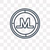 Monero wektorowa ikona odizolowywająca na przejrzystym tle, liniowy Mo ilustracji