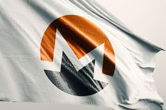 Monero XMR cryptocurrency flag 3d illustration stock illustration