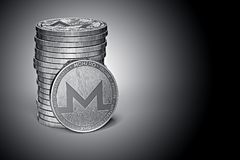 Monero XMR cryptocurrency physical concept coin pile on gently lit dark background. 3D rendering vector illustration