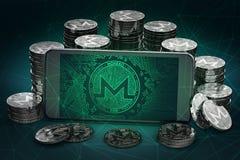 Monerosymbool op scherm onder stapels van Monero-muntstukken stock illustratie