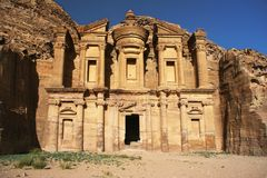 Monestery in Petra, Jordan - as it would on old picture Stock Photos