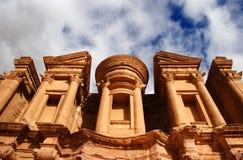 Monestry en Petra, Jordania Imagen de archivo