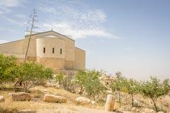 Monestry na górze держателя Nebo в Джордане где Моисей осмотрел h Стоковое Фото