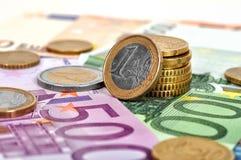monet euro 1 Zdjęcie Stock