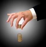monet euro ręki target2346_0_ Obraz Stock