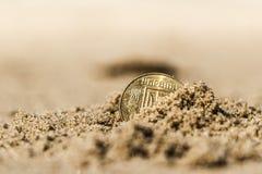 Moneta alla festa nella sabbia sulla spiaggia, Mare del Nord dell'Ucraina di affari Immagini Stock Libere da Diritti
