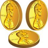 Moneta americana dei soldi dell'oro con Lincoln Fotografia Stock