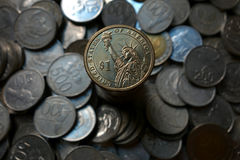 Moneta americana del dollaro Immagini Stock