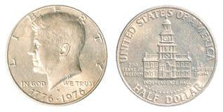 Moneta americana del dollaro mezzo Fotografia Stock