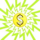 Moneta americana del dollaro nel vettore del cerchio di zigzag della freccia Fotografie Stock