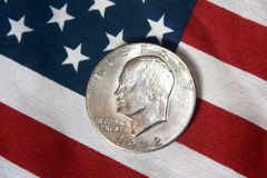 Moneta americana del mezzo dollaro Fotografie Stock