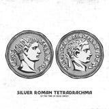 Moneta antica Il tetradrachma romano d'argento del periodo di Jesus Christ Perhaps per tali monete d'argento, Giuda ha denunciato illustrazione vettoriale