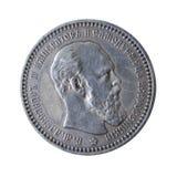 Moneta antica isolata su bianco Fotografie Stock Libere da Diritti