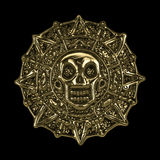 Moneta azteca dorata del pirata Immagini Stock