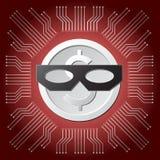 Moneta bianca del dollaro con la maschera nera del ladro sul fondo rosso del circuito del consiglio principale Immagine Stock