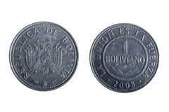 Moneta boliviana del peso Immagini Stock Libere da Diritti