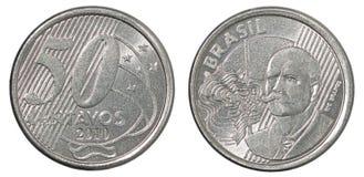 Moneta brasiliana dei centavi Fotografie Stock Libere da Diritti