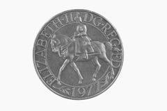Moneta britannica di giubileo d'argento Immagini Stock