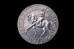 Moneta britannica di giubileo d'argento Fotografia Stock Libera da Diritti
