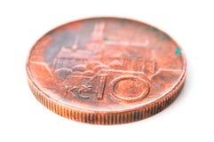 Moneta ceca della corona, 10 CZK, un primo piano di dieci corone Fotografie Stock Libere da Diritti