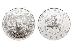 Moneta commemorativa di litas di circolazione 50 Fotografia Stock