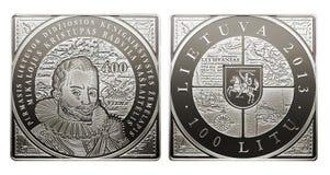 Moneta commemorativa di litas di circolazione 100 Fotografia Stock