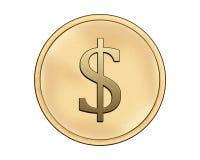 Moneta con il simbolo del dollaro Fotografia Stock