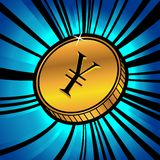 Moneta con il simbolo di valuta di Yen Fotografia Stock