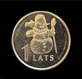 Moneta con l'immagine di un pupazzo di neve immagini stock libere da diritti