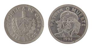 Moneta cubana di Che Guevara isolata su bianco Fotografia Stock
