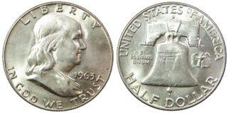 Moneta d'argento 1963 di libertà del Franklin del dollaro mezzo degli S.U.A. Fotografia Stock Libera da Diritti