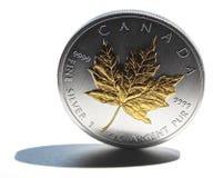 Moneta d'argento della foglia di acero Fotografia Stock Libera da Diritti