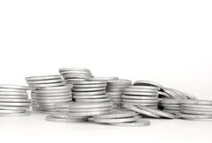 Moneta d'argento della pila, successo Fotografia Stock