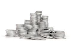Moneta d'argento della pila, successo Fotografie Stock