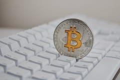 Moneta d'argento di Bitcoin Fotografia Stock