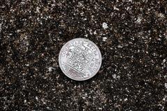 Moneta d'argento di Bitcoin Fotografia Stock Libera da Diritti