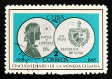 moneta d'argento una Peso, 1934, cinquantesimo anniversario di valuta cubana, circa 1965 Fotografie Stock Libere da Diritti