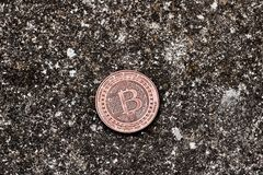 Moneta d'ottone del bitcoin Immagine Stock