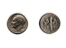 Moneta da dieci centesimi di dollaro Fotografia Stock