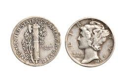 Moneta da dieci centesimi di dollaro d'argento antica isolata Fotografia Stock