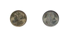 Moneta da dieci centesimi di dollaro del mercurio della condizione della menta Immagini Stock Libere da Diritti