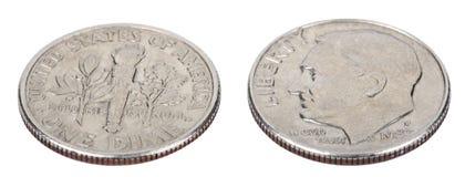 Moneta da dieci centesimi di dollaro isolata - angolo alto di entrambi i lati Fotografia Stock Libera da Diritti