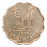 Moneta dei centesimi di Hong Kong Fotografia Stock Libera da Diritti