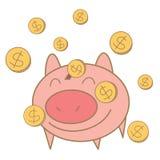 Moneta dei soldi che cade sul salvadanaio del maiale Fotografia Stock