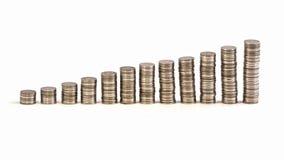 Moneta dei soldi sulla tavola bianca Fotografia Stock