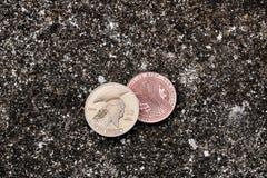 Moneta del bitcoin del titano dell'oro Fotografia Stock